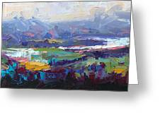 Overlook Abstract Landscape Greeting Card by Talya Johnson