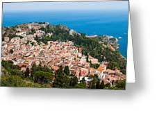 Over Taormina City Greeting Card