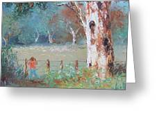 Over The Fence By Jan Matson Greeting Card