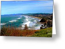 Overlooking Proposal Rock Cape Lookout Haystack Rock And Cape Kiwanda Greeting Card by Margaret Hood