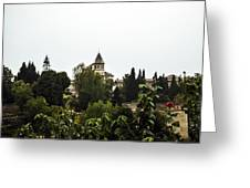 Overlooking The Alhambra On A Rainy Day - Granada - Spain Greeting Card