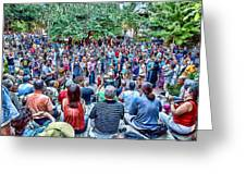 Overlooking The Asheville Drum Circle Greeting Card