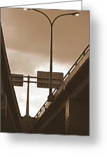 Overpass In Sepia Greeting Card