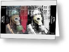 Overprinted Gas Mask Greeting Card