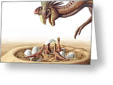 Oviraptor And Nest Greeting Card