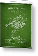 Owen Revolver Patent Drawing From 1899- Green Greeting Card