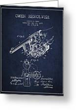 Owen Revolver Patent Drawing From 1899- Navy Blue Greeting Card
