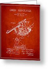 Owen Revolver Patent Drawing From 1899- Red Greeting Card