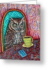 Owl At The Cafe Greeting Card by Jay  Schmetz