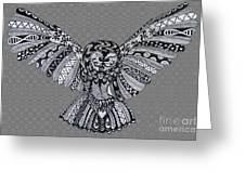 Owl In Flight Grey Greeting Card