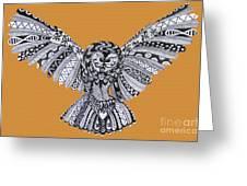 Owl In Flight Orange Greeting Card
