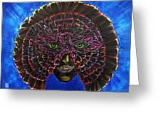 Owl Mask Self Portrait Greeting Card