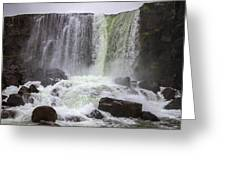 Oxarafoss Waterfall Greeting Card