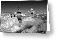 P-51 Mustangs Black And White Version Greeting Card