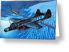 P-61 Black Widow  Caught In The Web Greeting Card by Stu Shepherd