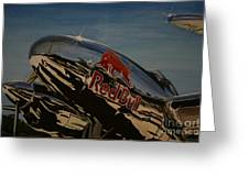 P38 Red Bull Lightning Warbird Greeting Card