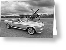 P51 Meets Eleanor In Black And White Greeting Card