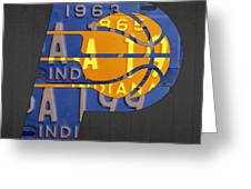 Pacers Basketball Team Logo Vintage Recycled Indiana License Plate Art Greeting Card