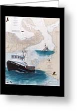 Pacific Dream Crab Fishing Boat Nautical Chart Art Greeting Card