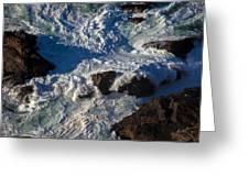 Pacific Ocean Against Rocks Greeting Card