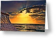 Pacific Sunset By Diana Sainz Greeting Card