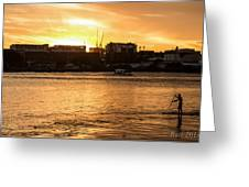 Paddle By The Sunset Greeting Card