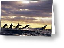 Paddlers Silhouetted Greeting Card