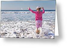 Paddling In The Ocean Greeting Card