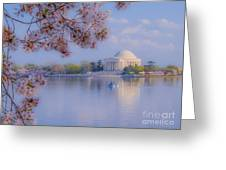 Paddling Past The Blossoms On The Basin Greeting Card