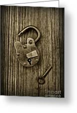 Padlock Black And White Greeting Card