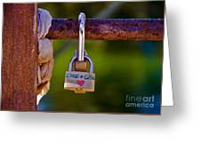 Padlock Technology Love  Greeting Card by Victoria Herrera