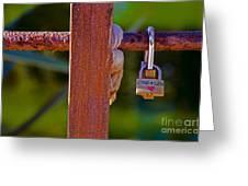 Padlock Technology Love1 Greeting Card by Victoria Herrera