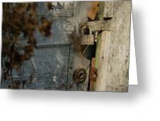 padlocked old wood door abandoned Streetman Texas Greeting Card