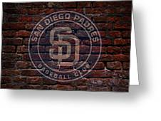 Padres Baseball Graffiti On Brick  Greeting Card by Movie Poster Prints