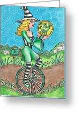 Page Of Coins - Good News Greeting Card by Joy Saethre