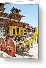 Pagoda-style Carriage In Bhaktapur Durbar Square In Bhaktapur-nepal Greeting Card