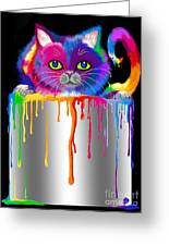 Paint Can Cat Greeting Card