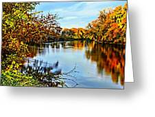 Painted Autumn River Greeting Card