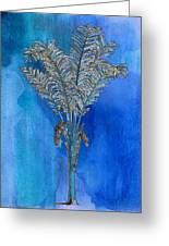 Painted Blue Palm Greeting Card