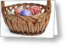 painted Easter Eggs in wicker basket Greeting Card