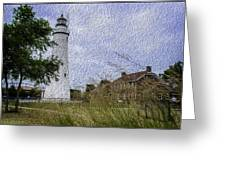 Painted Fort Gratiot Light House Greeting Card