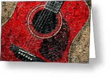 Painted Guitar - Music - Red Greeting Card