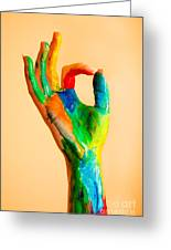 Painted Hand With Ok Sign Greeting Card