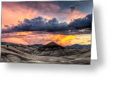 Painted Hills In Oregon Panorama At Sunset Greeting Card