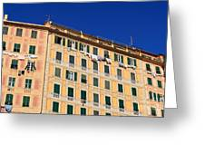 painted homes in Camogli Greeting Card