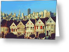 Alamo Square San Francisco - Digital Art Greeting Card