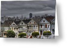Painted Ladies Ready For The Rain Greeting Card