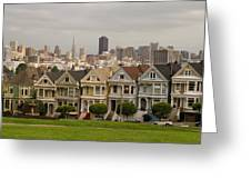 Painted Ladies Row Houses And San Francisco Skyline Greeting Card