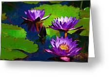 Painted Purple Water Lilies Greeting Card