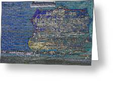 Painted Sign On A Brick Wall Greeting Card